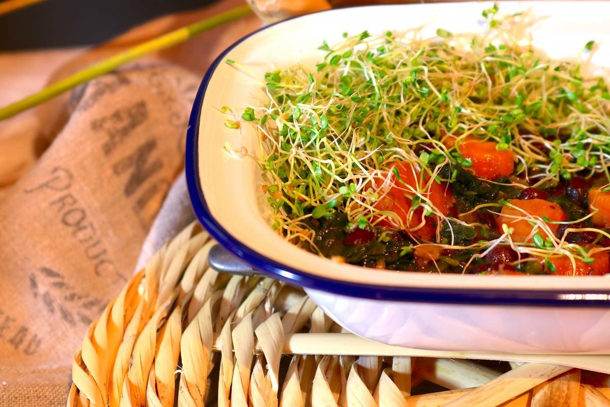 Feijão Azuki com espinafres e cenoura - 2