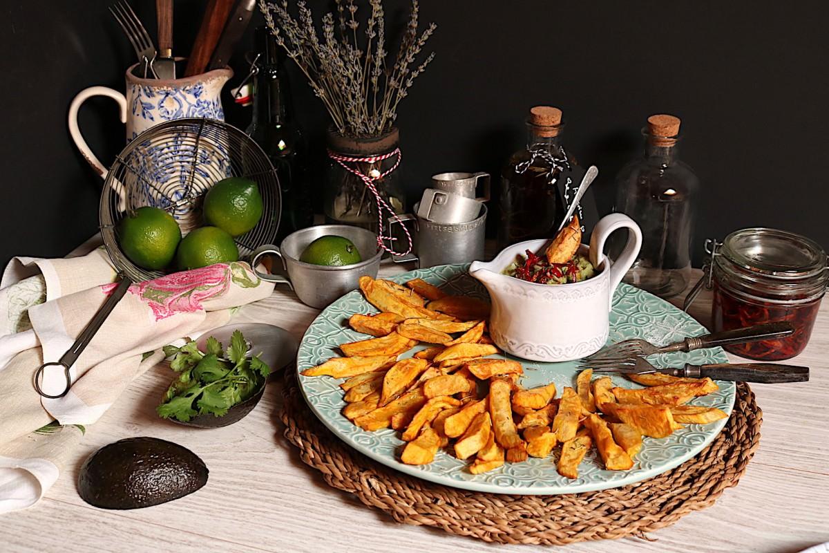 Batata doce frita & creme de abacate