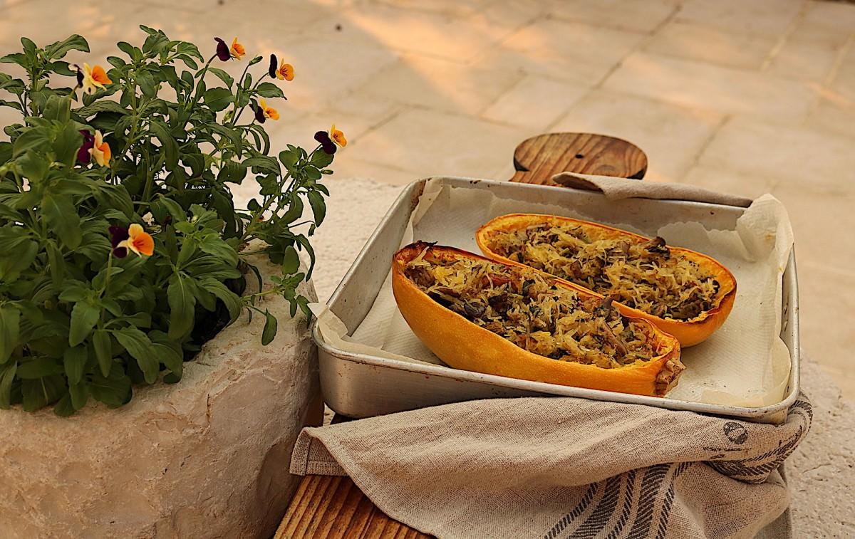 Abóbora esparguete com cogumelos - 1