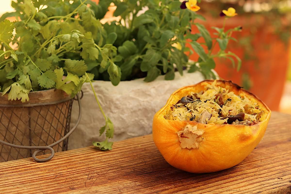 Abóbora esparguete com cogumelos - 3
