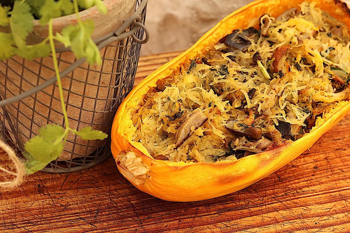 Abóbora esparguete com cogumelos - 5