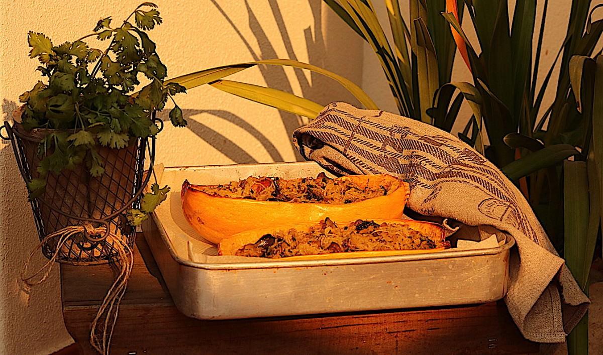 Abóbora esparguete com cogumelos - 6