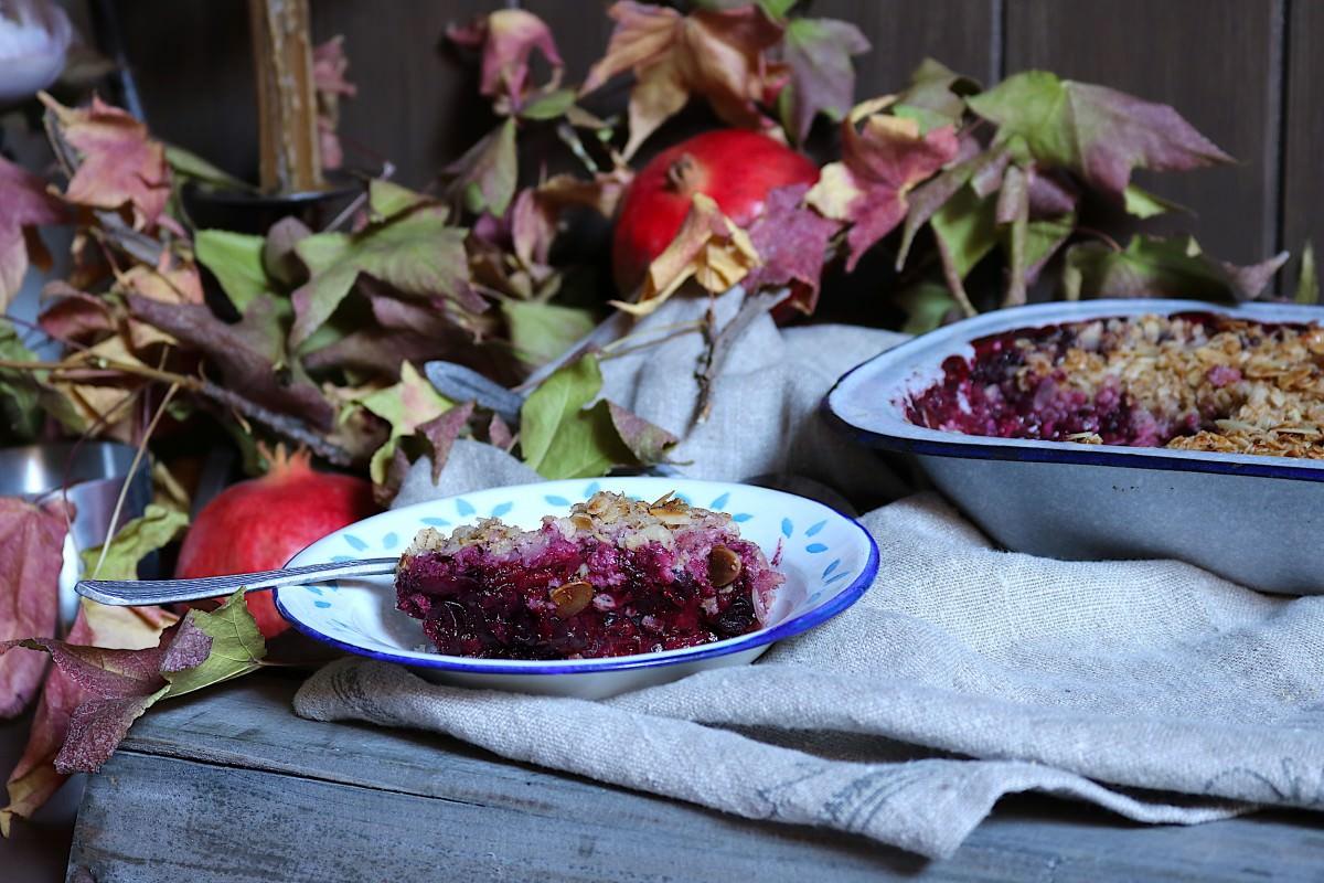 Crumble de frutos vermelhos com aveia