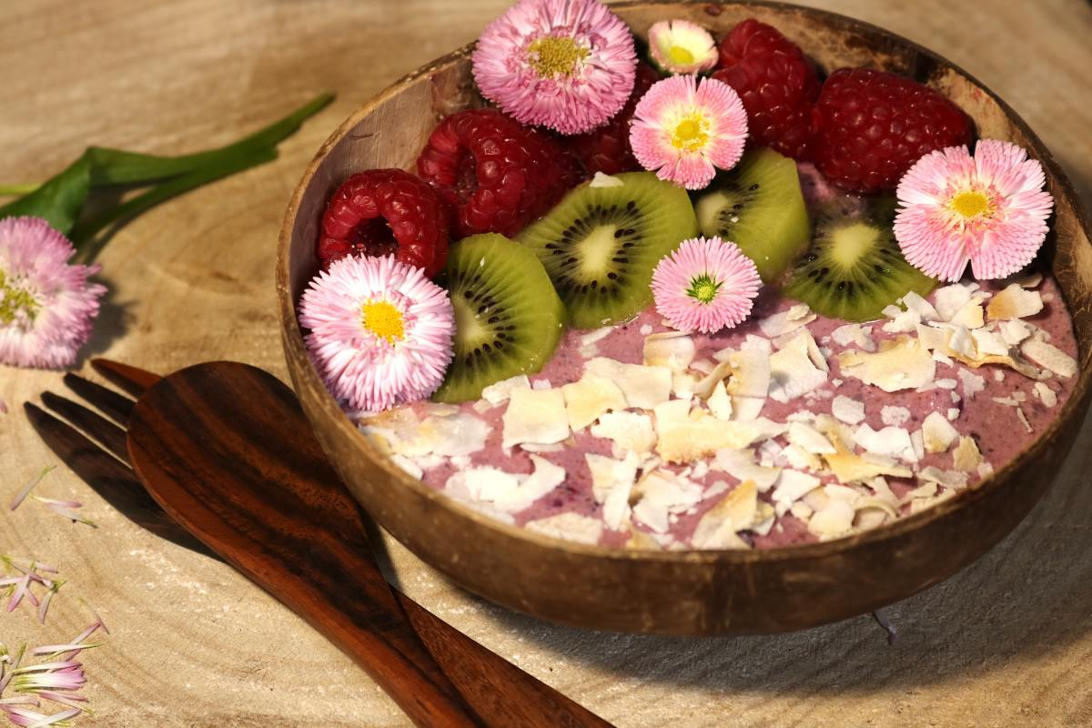 Taça de iogurte vegetal com frutos vermelhos e kiwi - 0