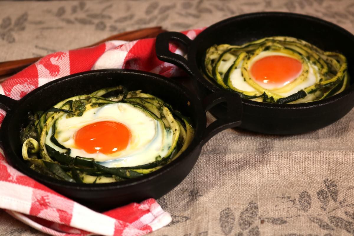 Courgette com ovos assados - 2
