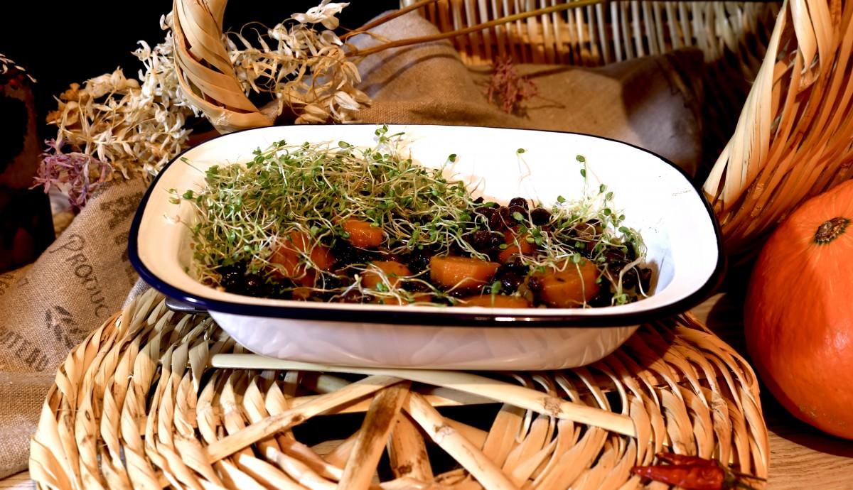 Feijão Azuki com espinafres e cenoura - 1