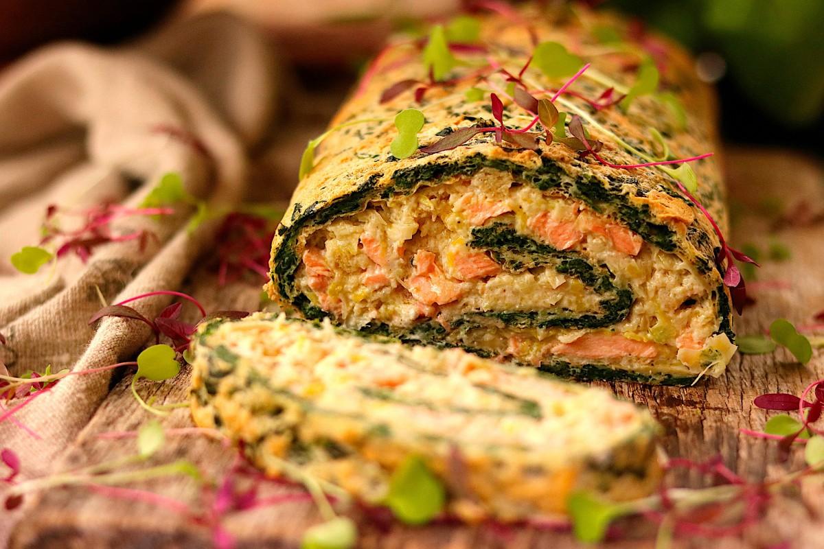 Torta de Espinafres Recheada com Salmão - 1