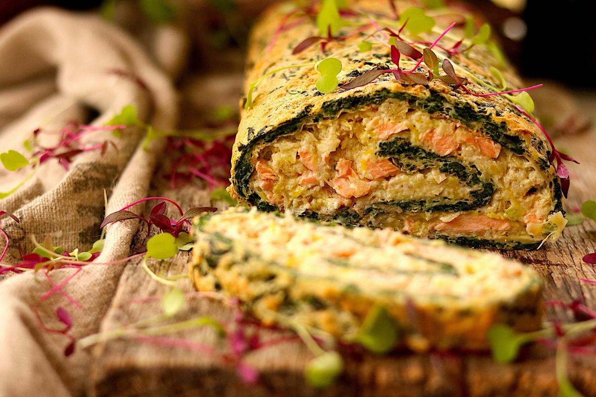 Torta de Espinafres Recheada com Salmão